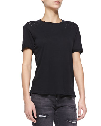 The Rolled-Sleeve Tee W/ Studded Shoulders, Black Beauty