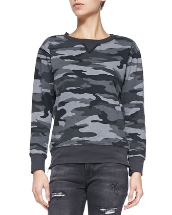 The Stadium Camo Sweatshirt W/ Zips, Distressed Black