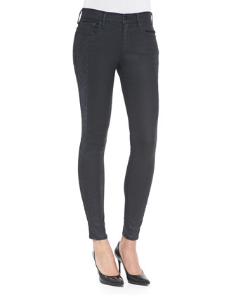 Halle Skinny Jeans W/ Textured Sides, Bathed Coated Night
