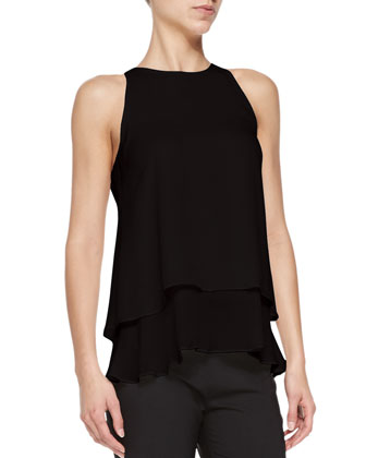 Falice Layered-Hem Sleeveless Top & High-Waist Cropped Suit Pants
