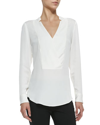 Corbette Split-Neck Silk Blouse