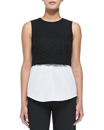 Yuranda Sleeveless Eyelet Blouse