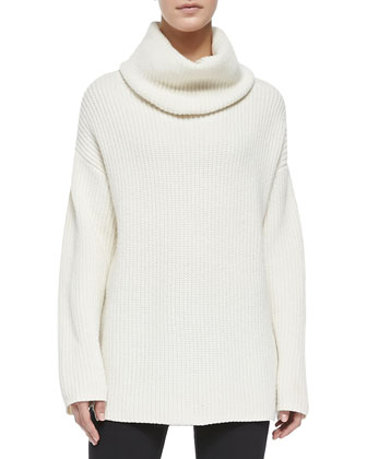 Snap-Neck Long Fuzzy Vest, Naven Loryelle Ribbed Turtleneck Sweater & Pail ...