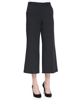 Inza Modern Cropped Suit Pants, Black