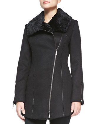 Lillie Asymmetric Coat with Rabbit Fur Collar