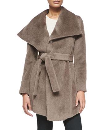 Hannah Belted Alpaca Wool Coat, Brown