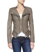 Jenna Peplum Zip-Off Leather Jacket