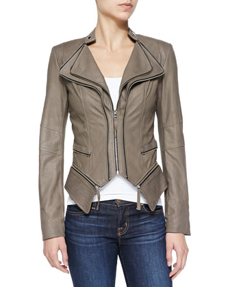 Jenna Peplum Zip-Off Leather Jacket