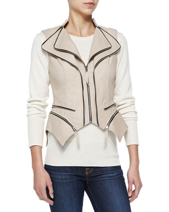 Silvi Leather Zip-Off Peplum Vest