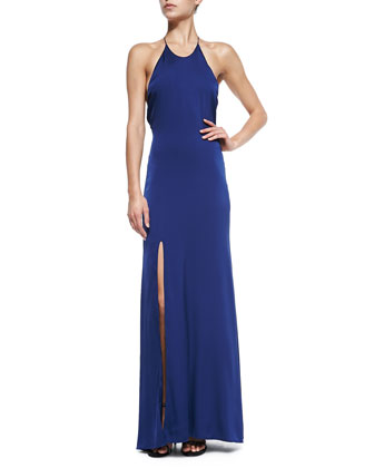 Halter Gown W/ High-Slit Front
