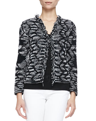 Crochet Zigzag Jacket with Fringe