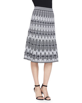 Tie-Dye Stretch Knit Top & Tie-Dye Open Knit Midi Skirt