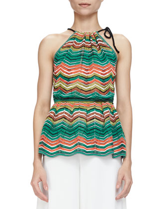 Zigzag Striped Halter Top