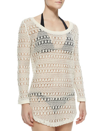 Capistrano Crocheted Scoop-Neck Beach Sweater