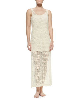 Ramona Crochet Coverup Dress, Natural