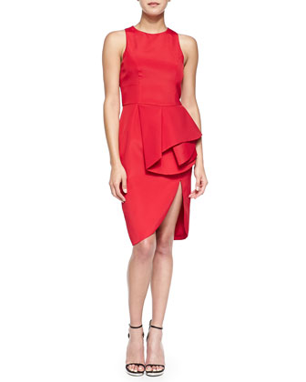The Falling Sleeveless Peplum-Front Sheath Dress