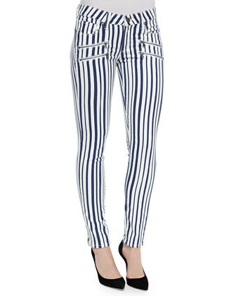 Edgemont Super Skinny Zip-Pocket Jeans, Cyprus Stripe