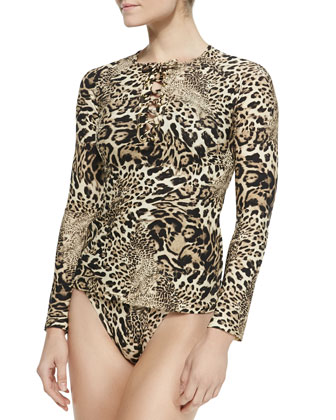 Leopard-Print Lace-Up Rashguard & Printed Strappy-Front One-Piece