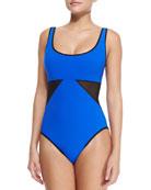 Scoop-Neck Underwire Swimsuit W/ Geo Panels, Black/Cobalt