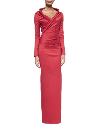 Long-Sleeve Wrap Column Gown
