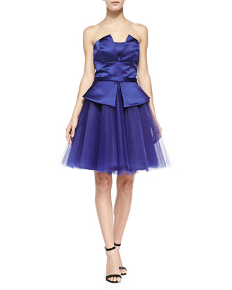 Nadia Strapless Satin/Tulle Dress