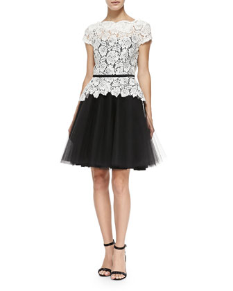 Quinn Cap-Sleeve Lace Dress