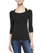 Metapuzzle Long-Sleeve Fitted Top