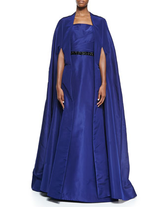 Silk Faille Opera Cape Coat, Navy