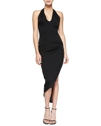 Side-Gathered Halter Dress