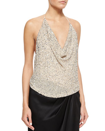 Scarface Embellished Tie-Back Top