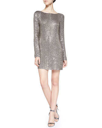 Long-Sleeve Short Dress with Crystals