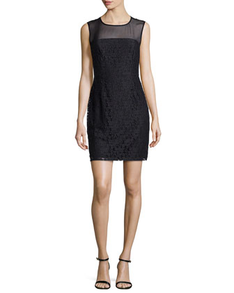 Nisha Sleeveless Illusion Lace Sheath Dress, Black