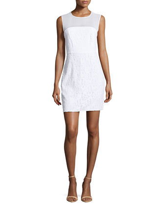 Nisha Sleeveless Illusion Lace Sheath Dress, White