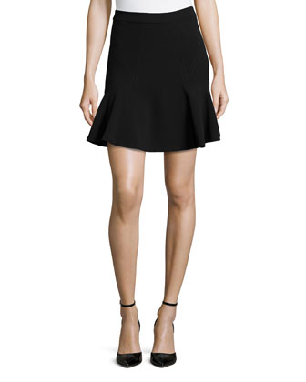 Carlita Seam-Detailed Flounce Skirt, Black