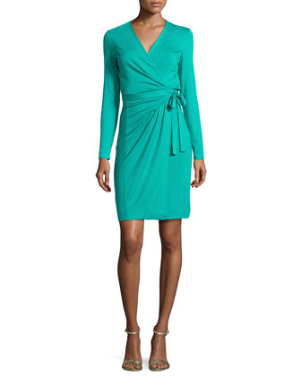 Valencia Jersey Wrap Dress, Parakeet