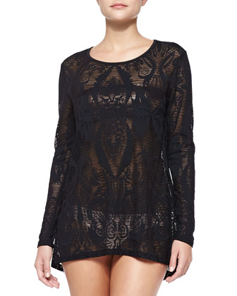Watermark Long-Sleeve Lace Coverup Shirt, Black