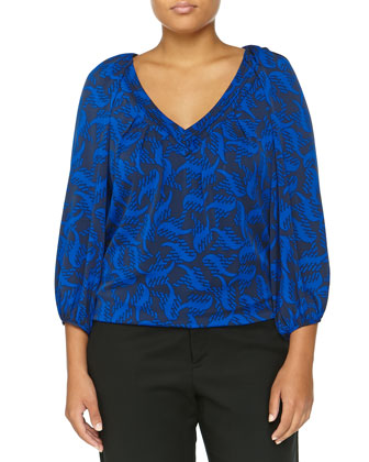 Cahil Wave-Print Top