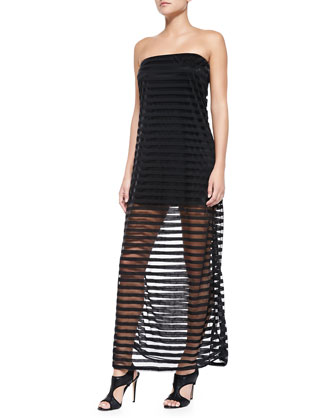 Strapless Banded Sheer-Skirt Dress