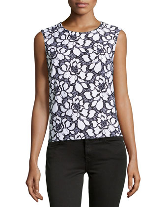 Betty Lace-Front Tank, White/Black