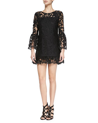 Eloy Ruffle-Hem Lace Dress