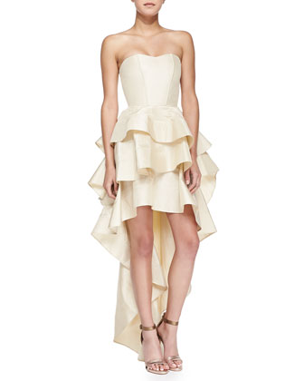 Leros Strapless Layered-Ruffle Gown