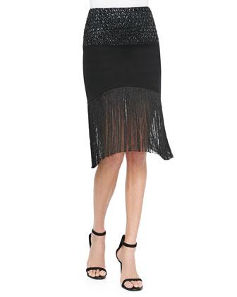 Stephano Mixed Fabric Pencil Skirt