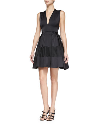 V-Neck Sleeveless Organza Dress
