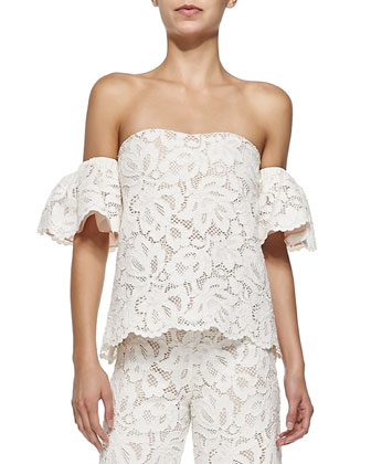 Valentino Off-The-Shoulder Lace Top