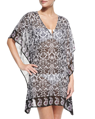 3/4-Sleeve Baroque-Print Tunic, Multicolor