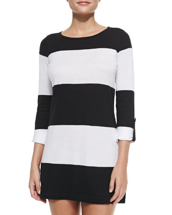 Bold-Striped Sweater W/ Rolled Sleeves, Black/White