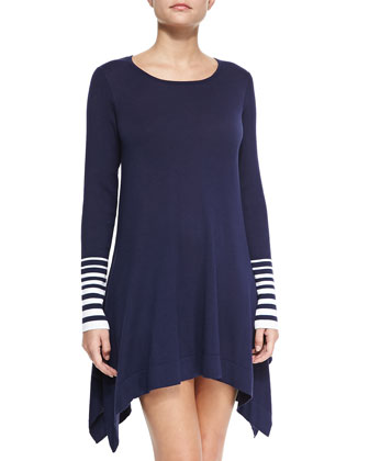 Crewneck Sweater with Striped Cuffs