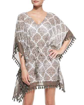 3/4-Sleeve Printed Tunic with Tassels, White/Taupe