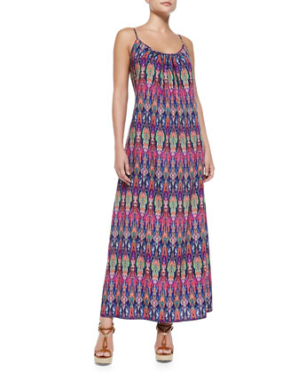 Ikat Spaghetti-Strap Beach Dress