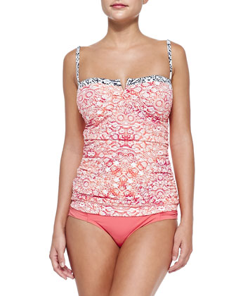Printed Ruch-Side Tankini Top